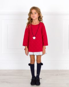 Vestido Sudadera Lunares Rojo & Volantes Estrellitas Marino de Dadati