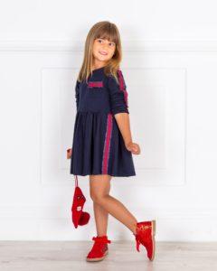 Vestido Niña Punto Rojo & Rayas Lurex Negro de Mon Petit Bonbon
