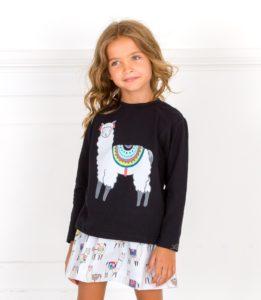 Conjunto Niña Sudadera Negro & Falda Estampado Llamas Gris de Mon Petit Bonbon