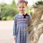 Vestido Niña Evasé Estampado Príncipe de Gales Azul de Dolce Petit