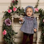 Conjunto Bebé Niña 3 Piezas Príncipe de Gales Azul & Granate de Dolce Petit