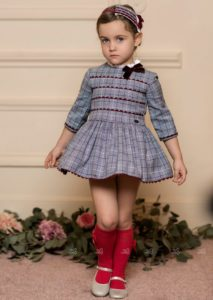 Vestido Niña Príncipe de Gales Azul & Granate de Dolce Petit