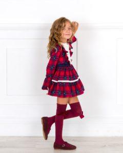 Vestido Niña Tartán Rojo & Lazo Tul Marino de Dolce Petit