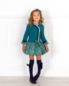 Vestido Combinado Cuerpo Marino & Falda Lunares Beige de Dolce Petit