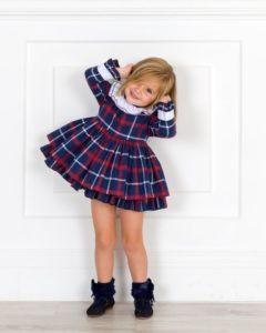 Vestido Niña Cuello Volante Cuadros Marino & Granate de La Peppa Moda Infantil