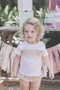 Camiseta Bebé Niña Algodón Blanco & Puntilla Beige de Dolce Petit