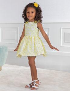 Vestido Niña Plumeti Amarillo Limón con Lazos Hombros de Abel & Lula