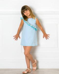 Vestido Sabina Evasé Celeste & Doble Volante Asimétrico Lunares Lurex de Missbaby