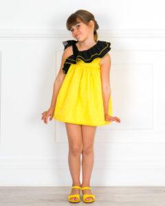 Vestido Eleonora Lunares Amarillo & Doble Volante Asimétrico con Tul Negro de Missbaby