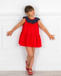 Vestido Mariola Rojo & Cuello Volante Lunares Marino de Missbaby