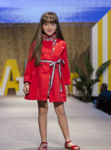 Vestido Niña Estampado Floral Marino & Rojo con Cinturón y Gabardina de Missbaby