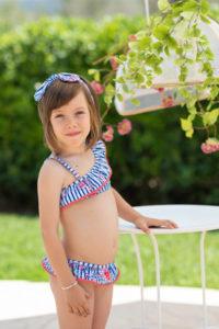 Bikini Niña Rayas Azules & Estampado Floral de Dolce Petit