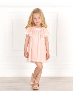 Vestido Niña Plumeti Rosa Empolvado & Mangas Mariposa de Mon Petit Bonbon
