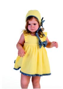 Vestido Niña Amarillo & Volante Denim de José Varón