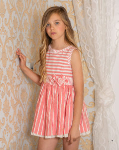 Vestido Niña Rayas Coral & Crudo de Dolce Petit