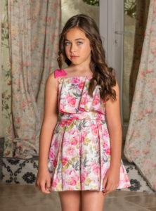 Vestido Niña Tablas & Estampado Floral Fucsia de Dolce Petit