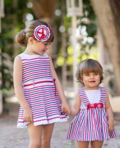 Vestido Niña Marinero Tablas Rojo & Marino & Jesusito 2 Piezas Bebé Marinero Rayas Rojo & Marino de Dolce Petit