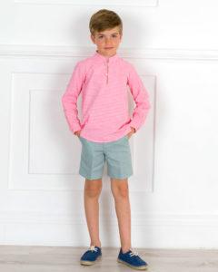 Conjunto Niño Camisa Vichy Coral & Short Lino Verde de Manuela Montero