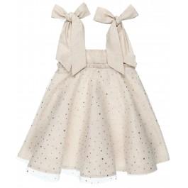 Vestido Niña Combinado Beige Perlado & Tul Lunares Dorados