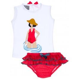Conjunto Niña Camiseta Lentejuelas Reversibles & Braguita Plumeti Rojo