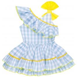 Vestido Niña Vichy Azul Celeste con Volante Cuello Asimétrico & Lazo Amarillo
