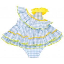 Jesusito Bebé Vichy Azul Celeste Volante Cuello Asimétrico & Lazo Amarillo
