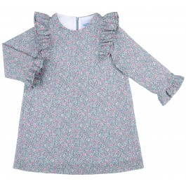 Vestido Niña Evasé Estampado Liberty Azul& Rosa
