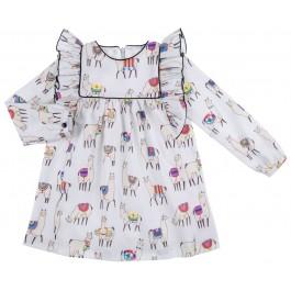 Vestido Niña Estampado Llamas Gris