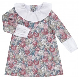 Vestido Niña Estampado Floral Rosa Cuello & Mangas Popelin Blanco