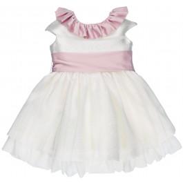 Vestido Niña Arras Brocado Blanco Roto & Rosa Palo