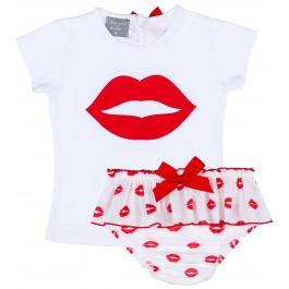 Conjunto Bebé Camiseta Blanco & Braguita Labios Rojo