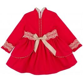 Vestido Vuelo Fajín Volantes Desmontable Rojo & Puntilla Beige