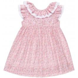 Vestido Niña Liberty Rosa & Cuello Doble Volante