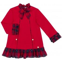 Vestido Niña Punto Roma & Volante Tartán Rojo