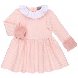 Vestido Niña Lunares Rosa Empolvado & Puño Pelo Sintético
