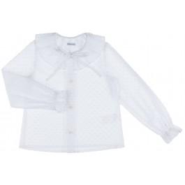 Camisa Niña Cuello Volante Partido Plumeti Blanco