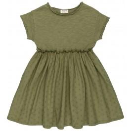 Vestido Algodón Orgánico Combinado Verde Caza