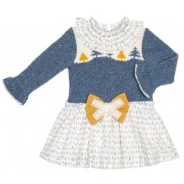 Vestido Combinado Punto Azul & Estampado Forest Mostaza