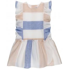 Vestido Niña Talle Bajo Estampado Rayas Azul & Beige