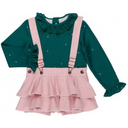 Conjunto Niña Blusa Verde & Peto Volantes Rosa Palo