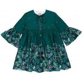 Vestido Niña Mangas Campana Verde & Flores