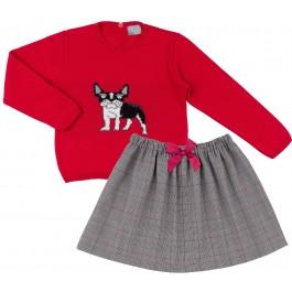 Conjunto Niña Jersey Frenchie Rojo & Falda Príncipe de Gales Gris