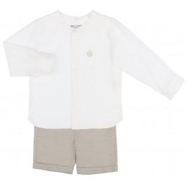 Conjunto Niño Camisa Lino Blanco & Short Beige