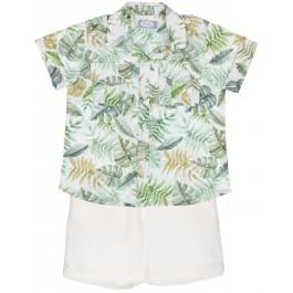 Conjunto Niño Camisa Tropical Verde & Short Crudo