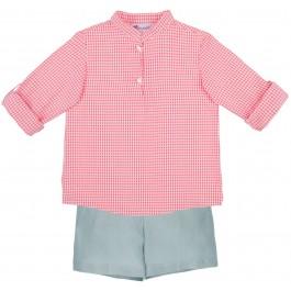 Conjunto Niño Camisa Vichy Coral & Short Lino Verde