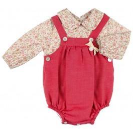 Conjunto Bebé Camisa Floral & Ranita Granate