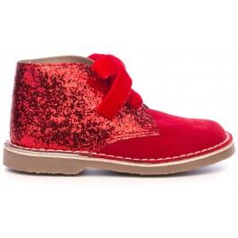 Botines Piel Serraje & Glitter Rojo con Lazo Terciopelo