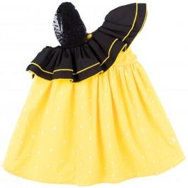 Vestido Eleonora Lunares Amarillo & Doble Volante Asimétrico con Tul Negro