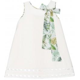 Vestido Niña Blanco Roto & Lazada Tropical Cuello