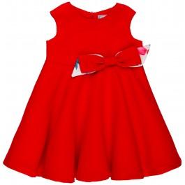 Vestido Niña Piqué Lunares & Lazo Rojo